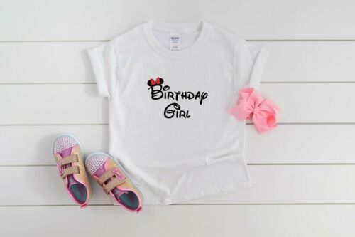 Personalised Minnie Mouse Girls Birthday Girl T Shirt Pink Custom Made Name