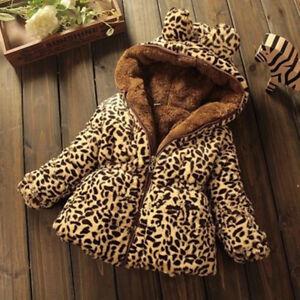 f1a817865 2019 Baby Kids Girls Parker Coat Fur Coat Warm Jacket Jacket Leopard ...