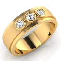 Real 0.22 CT Diamond Engagement  Mens Rings Fine 14K Yellow Gold Round Band MKG