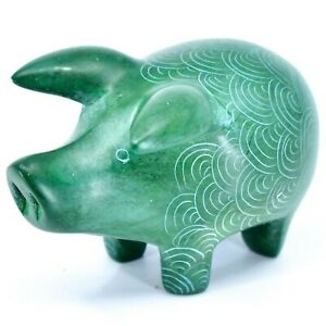 Tabaka-Chigware-Hand-Carved-Kisii-Soapstone-Green-Pig-Figure-Made-in-Kenya