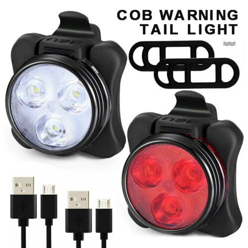 Pair Bike Light Set Super Bright USB RECHARGEABLE Bicycle Light Waterproof COB