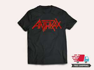 New-Anthrax-American-Heavy-Metal-Band-Logo-Men-039-s-Black-T-Shirt-Size-S-5XL