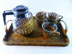 Kaffee-Teeservice-Melitta-Jenaer-Glas-Korbgeflecht-5-Personen-mit-Tablett