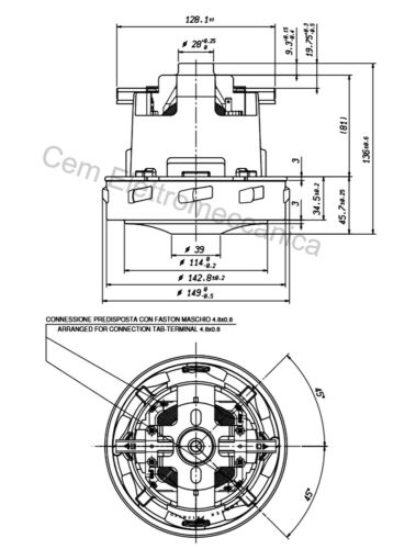 Motore aspirapolvere WURTH ISS 45 1400 Watt 230V stadio singolo Ametek