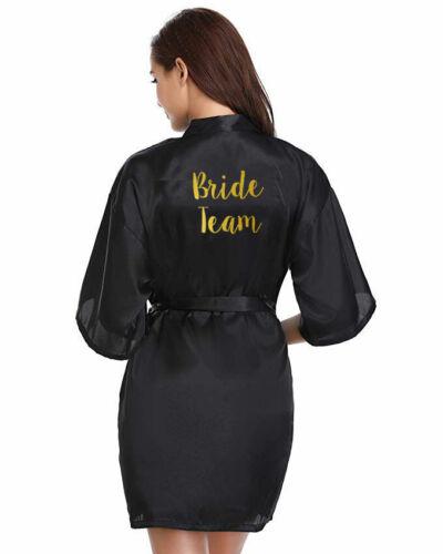 Black Personalised Satin Wedding Bride Bridesmaid Bath Robe Mother Dressing Gown