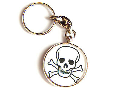 Skull And Crossbones Danger Warning Quality Chrome Keyring Picture Both Sides Né Troppo Duro Né Troppo Morbido