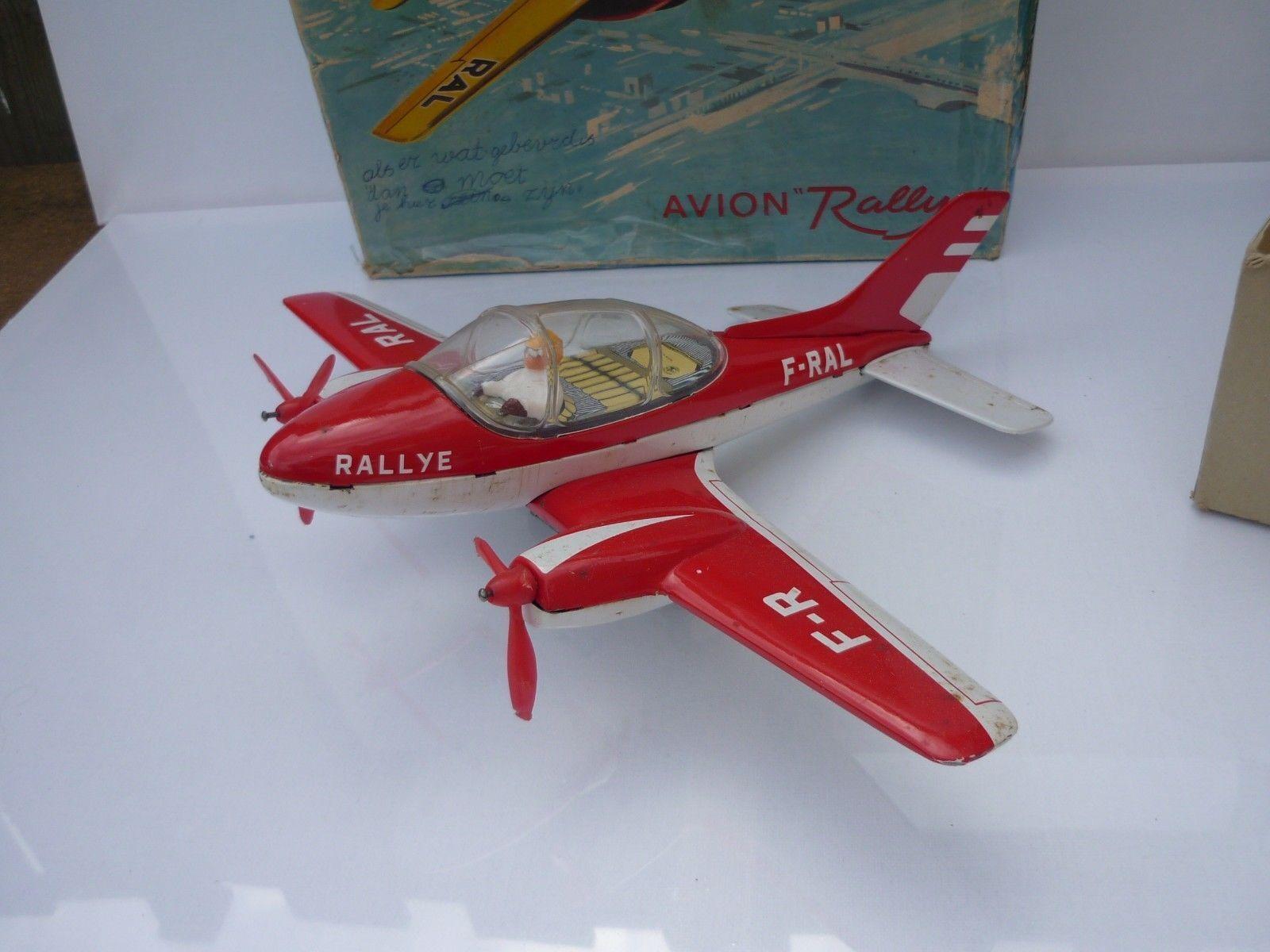 JOUSTRA BLECH TIN TOY PLANE VINTAGE AVION RALLYE / jouet ancien  Original Box