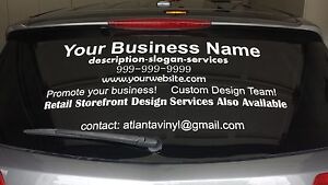 Personalized Custom Business Vinyl Rear Window Advertisement - Window decals for business atlanta