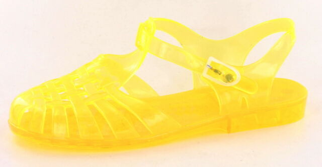 2117410a7e9b Ladies Spot on 90 s Retro Jelly Buckle Sandals F0714 Yellow UK 5