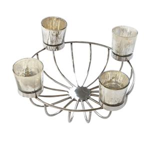Kerzenhalter SuArt vier Kerzen mit Schale 31 cm Metall Glas Adventskranz Deko