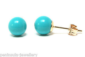 9ct-Gold-6mm-Turquoise-Ball-Stud-earrings-Gift-Boxed-Made-in-UK-Birthday-Gift