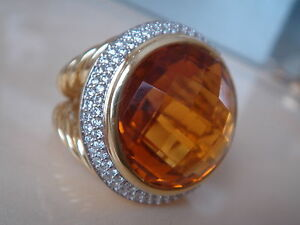 $6500 David Yurman 18k Massif Diamant Orange Citrine Ring-afficher Le Titre D'origine