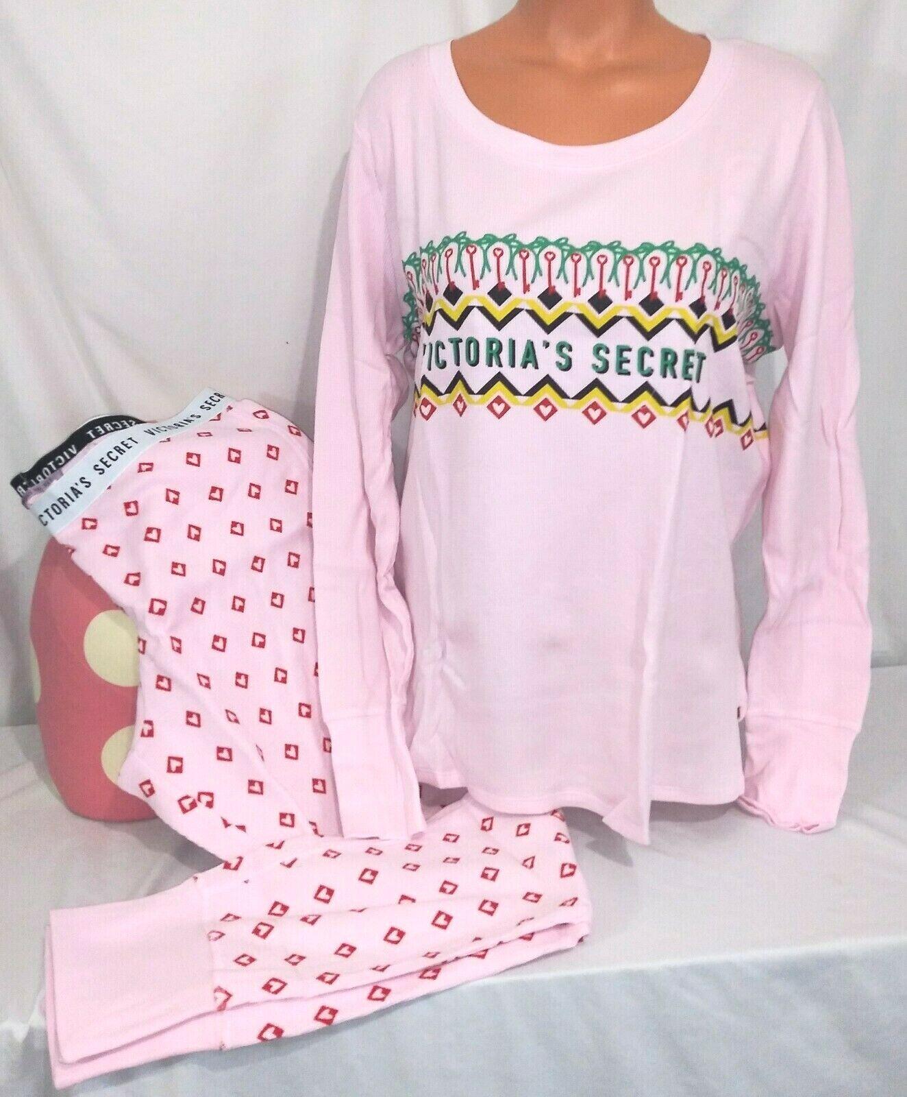 Victorias Secret Fireside THERMAL PINK FAIRISLE Pajama Set Pajamas NWT L