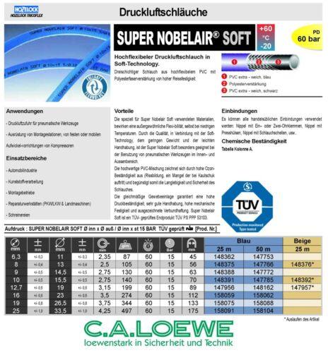 Tuyau à air comprimé super Nobelair soft 9 x 2,75 mm 5 M tricoflex tuyau de pression