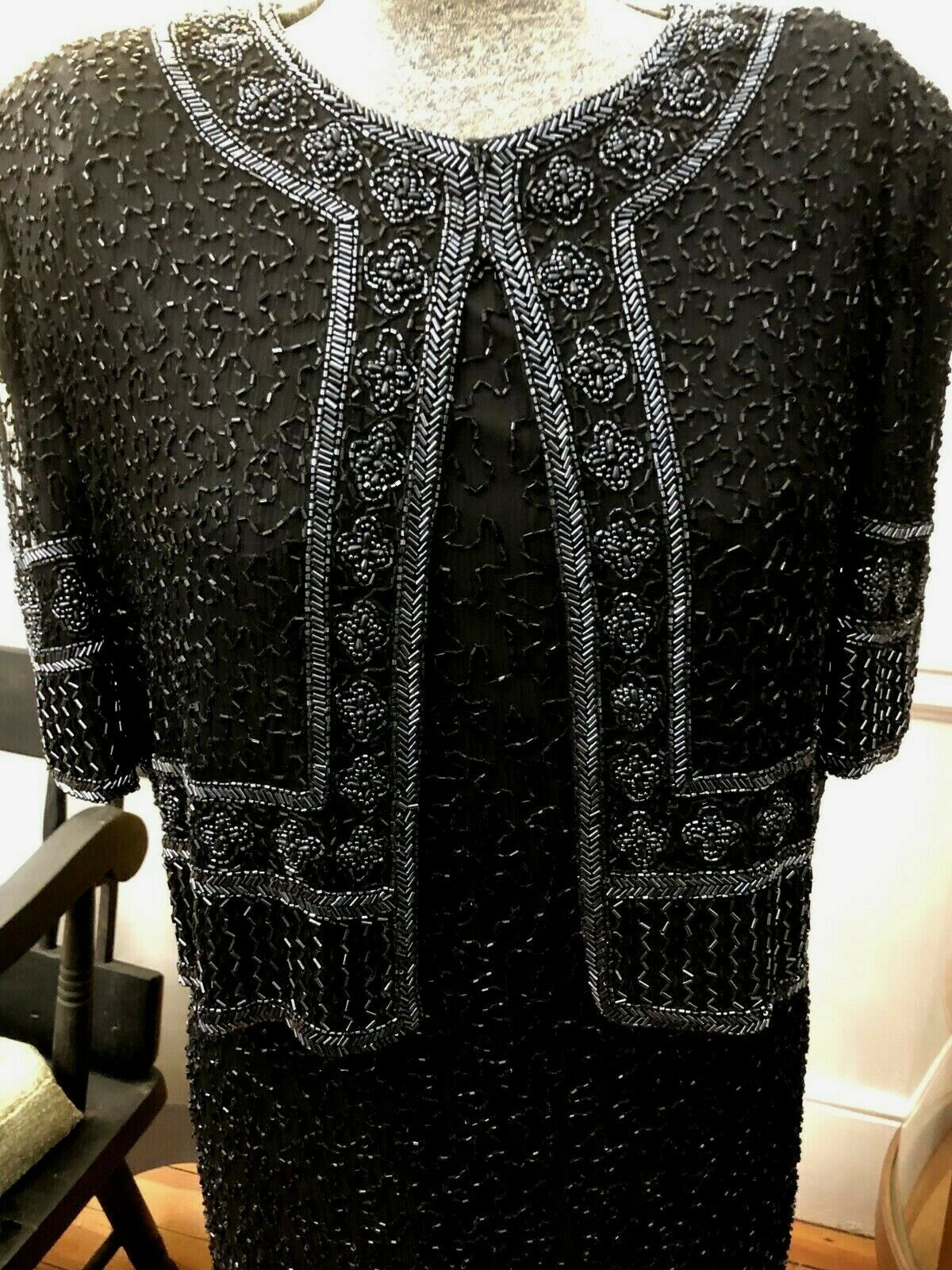 GORGEOUS Vintage Full Length Black Beaded Silk Gown Mother of the Bride Formal