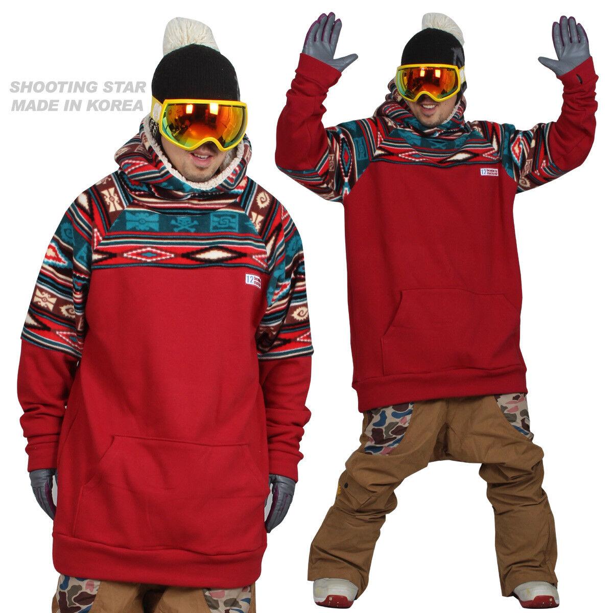 18-19 December long tall hoodie ski snowboard-skull rosso