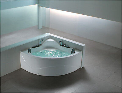 DOUBLE 2 PERSON WHIRLPOOL CORNER BATH spa LIGHT 1230mm