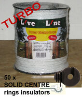 White Electric Fence Power-charge Rope 200m & 50 Rings