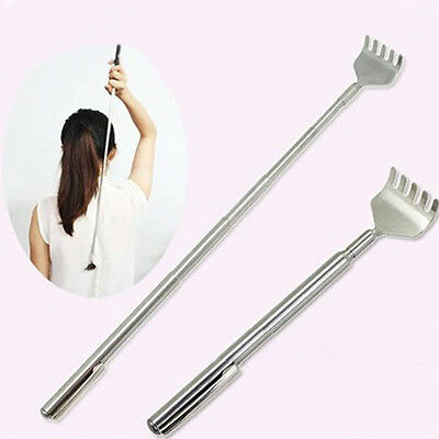 1xTelescopic Extendable Stainless Steel Back Scratcher Rake Handy Mini Pen Clip