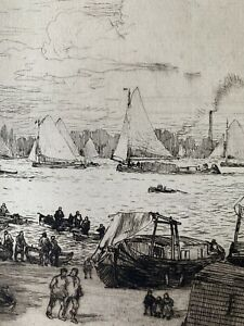 Gaston de latenay engraving water strong etching port sailboats scheldt antwerp
