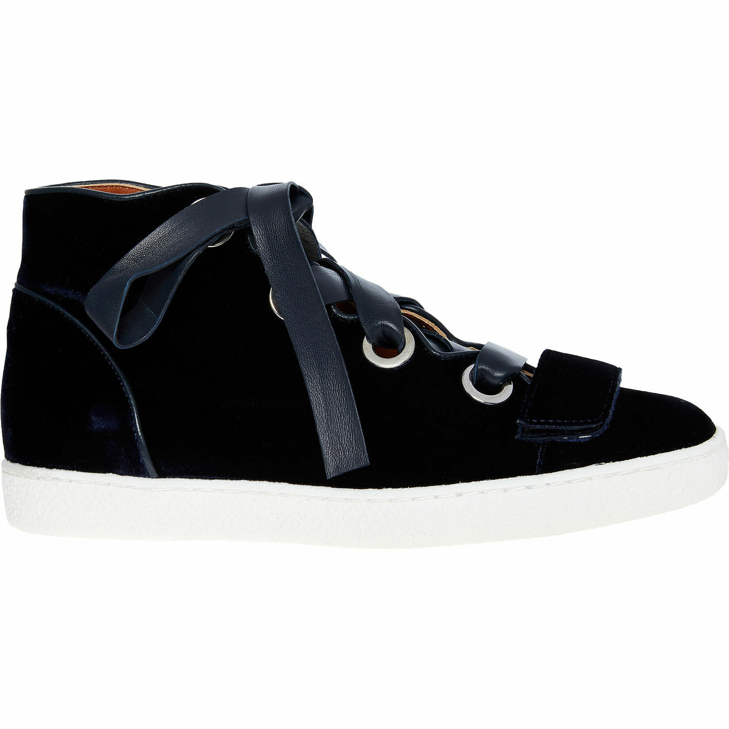 DEREK LAM Women's SERENA Navy Velvet High Top Sneakers, sizes UK 3 4