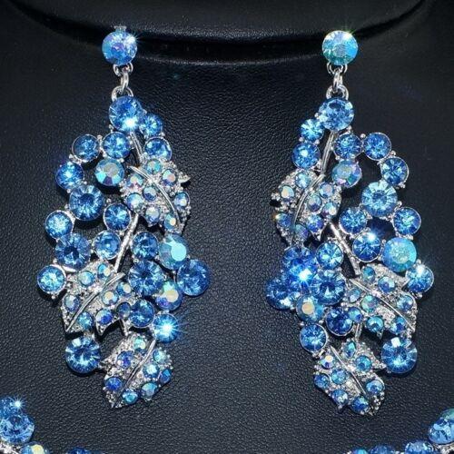 YT222 Blue Rhinestone Crystal Leaf Earrings Necklace Set Bridal Party Gift