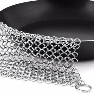Details About Ringer Stainless Steel Big Chain Mail Cast Iron Skillet Cleaner Scrubber 3 Types
