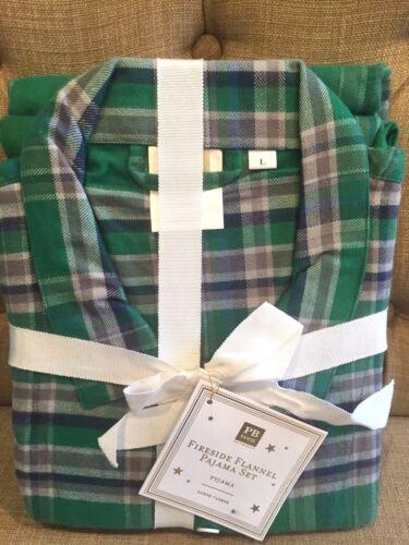 Pottery Barn Teen Fireside Flannel Pajama Set Size Large Christmas Plaid NWT