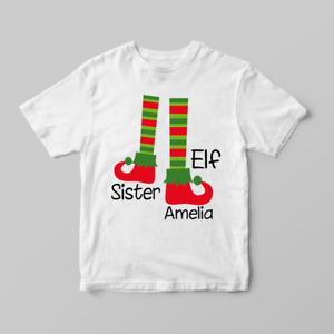 Personalizado De Navidad Navidad hermana Elf Children/'s Kids Camisetas Camiseta Top