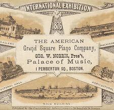 American Grand Square Piano Boston 1876 Philadelphia Centennial Advertising Card