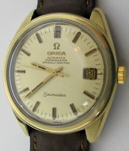 Omega Seamaster Chronometer Vintage Gold Top Wrist Watch Cd 168 022