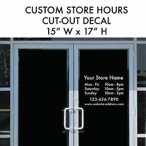 ebb89b1031bcd Details about STORE HOURS Large Business Custom Cut-out Vinyl Decal Sticker  15x17 Window Door