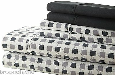 6 Piece Palazzo Black and Grey  Soft Bed Sheet Sets and Bonus Pillow Cases