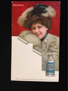 UNUSED-EARLY-ADV-PC-SANITOL-TOOTH-POWDER-PIERSON-PHARMACY-HORNELL-NY-NICE-ILLUS