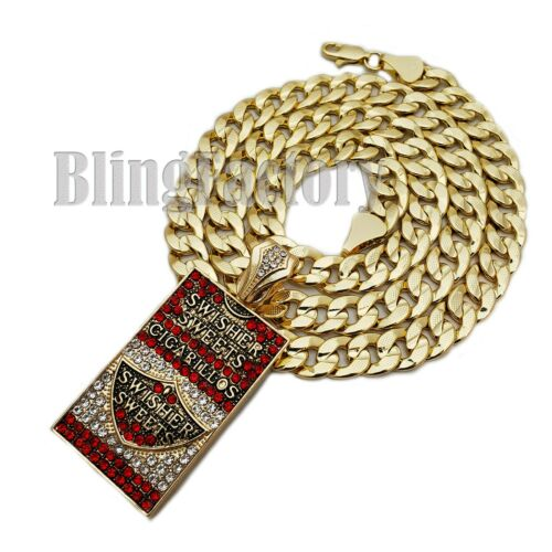 """Hip Hop SWISHER SWEETS CIGARILLOS /& 10mm 24/"""" Miami Cuban Chain Bling Necklace"""