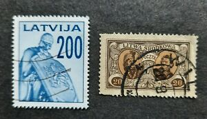 Latvia stamp from 1992 & Central Lithuania stamp from 1921 Used