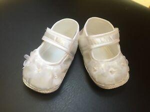 07aba52aa G07 Nuevo Bebé Organza Flores Niña Bautizo Bautizo Pram Zapatos Abotinados  0-12 MTH Ropa