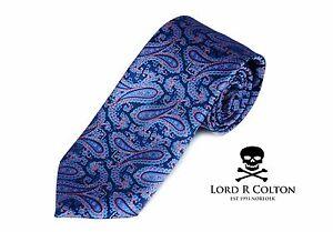 Lord-R-Colton-Studio-Tie-Sapphire-Topaz-amp-Pink-Paisley-Woven-Necktie-95-New