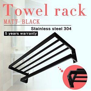 Display-Towel-Shelf-Rack-Rail-Matt-Black-Stainless-Steel-304-Wall-Mount-Bathroom
