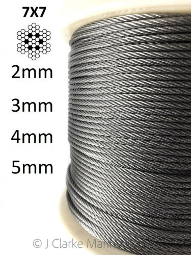 316 Acier Inoxydable A4 Wire Rope Câble 2 mm 3 mm 4 mm 5 mm 7x7 Gréement Balustrades