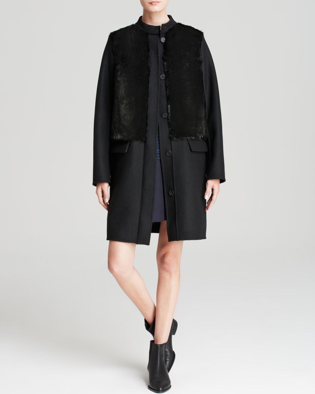 VINCE. Genuine Genuine Genuine Rabbit Fur Paneled Coat, Small 6a1c0c