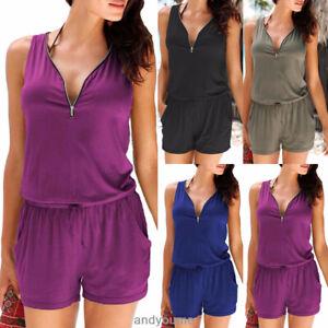 Womens-Zip-Neck-Pocket-Playsuit-Ladies-Summer-Shorts-Jumpsuit-Plus-Size-6-24-New