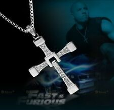 Fast & Furious (Dominic Toretto) Silver Plate Crystal Gem Cross/Crucifix & Chain