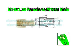 Brake-Line-Pipe-Brass-M10x1-25-Female-to-M10x1-Male-Fitting-Connector-Coupler