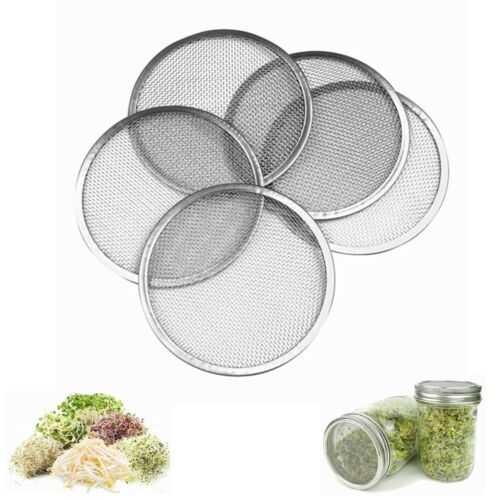 5X Sprouting Lid Mesh Screen Strainers Filter Stainless Steel For Mason Jar