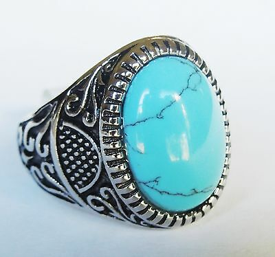 Man's and Woman's Unique Stainless Steel  Oval blue Turquoise Ring Size 9 to 14