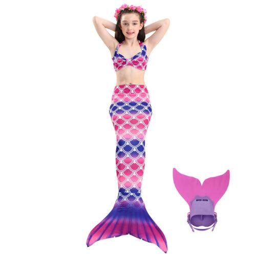 Kinder Mädchen Mermaid Schwanz Schwanzflosse Monofin Bademode Schwimmbare Bikini