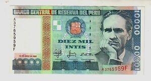 Peru-039-10000-10-000-intis-1988-FDS-UNC-pick-141-lotto-1146
