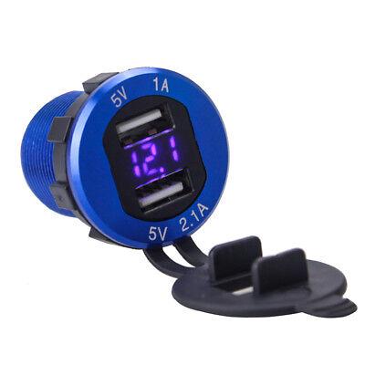 Aluminum 12V/24V Dual USB Port Car Cigarette Lighter Socket Plug LED Voltmeter