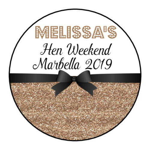 Personalised Hen Do Birthday Wedding Party Bag Stickers Labels GLOSS 12 COLOURS